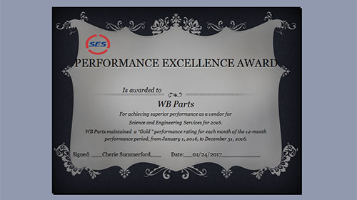 SES Supplier Rating Award